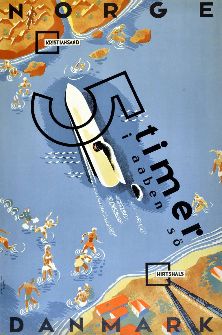 Unknown Original Vintage Art Deco Poster Advertising A