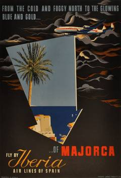 Original vintage travel advertising poster: Fly by Iberia to Majorca Spain