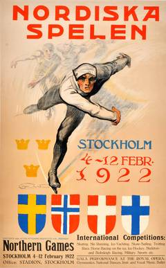 Original Winter Sports Poster For The 1922 Northern Games Featuring Ice Skating
