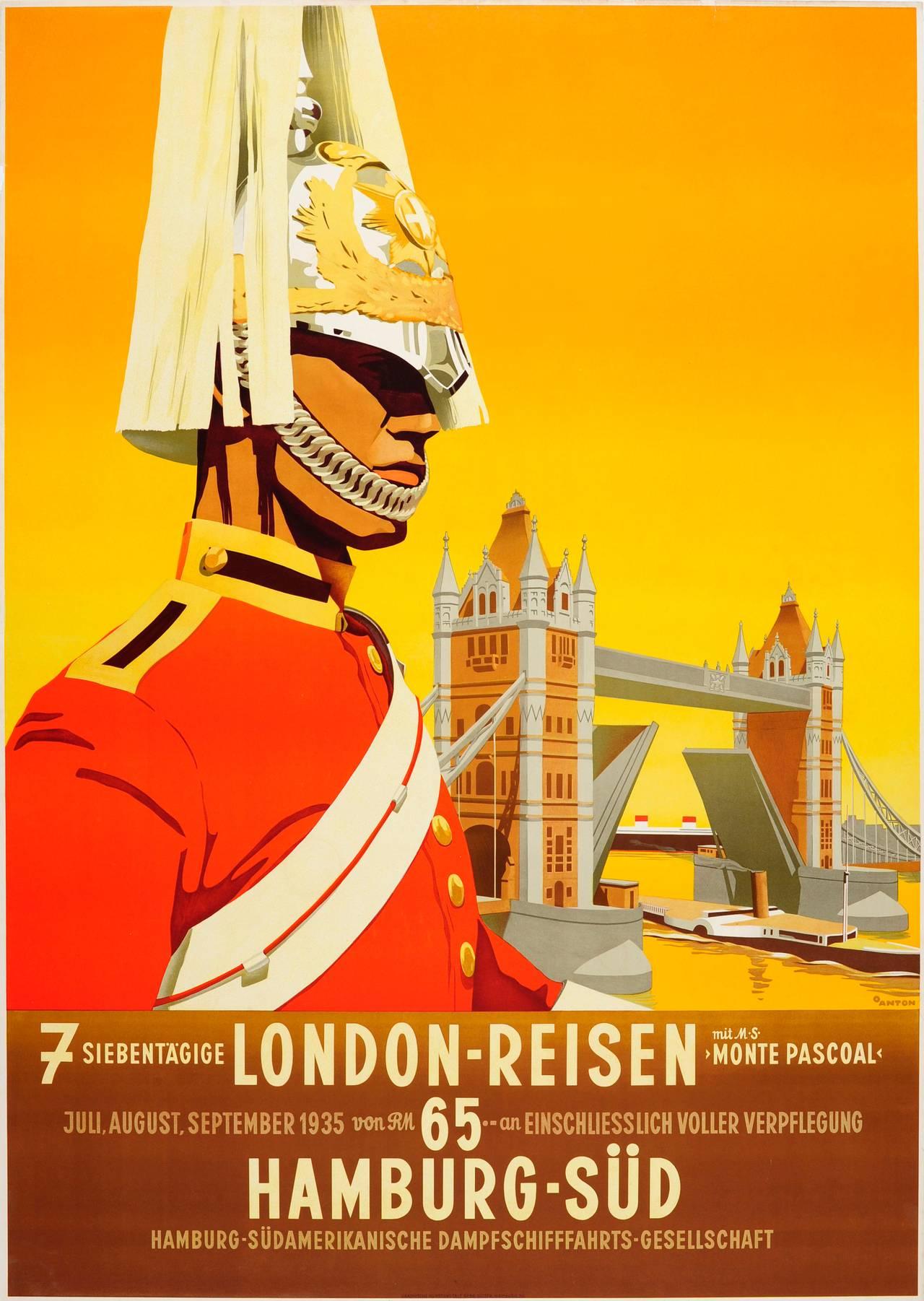 Rare Original 1935 Travel Poster Advertising London By Hamburg Sud Shipping Line