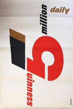 Original 1958 Modernist Design Advertising Poster For Guinness By Abram Games