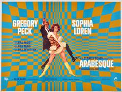 Original Vintage Movie Poster For Arabesque Starring Gregory Peck & Sophia Loren
