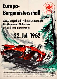 Original Vintage Car Racing Poster For The ADAC World Championships July 1962