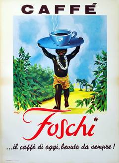 Large original vintage advertising poster for Caffe Foschi, Italian coffee brand