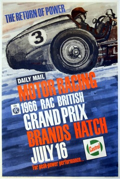 Original Vintage Motor Racing Sport Poster 1966 British Grand Prix Brands Hatch