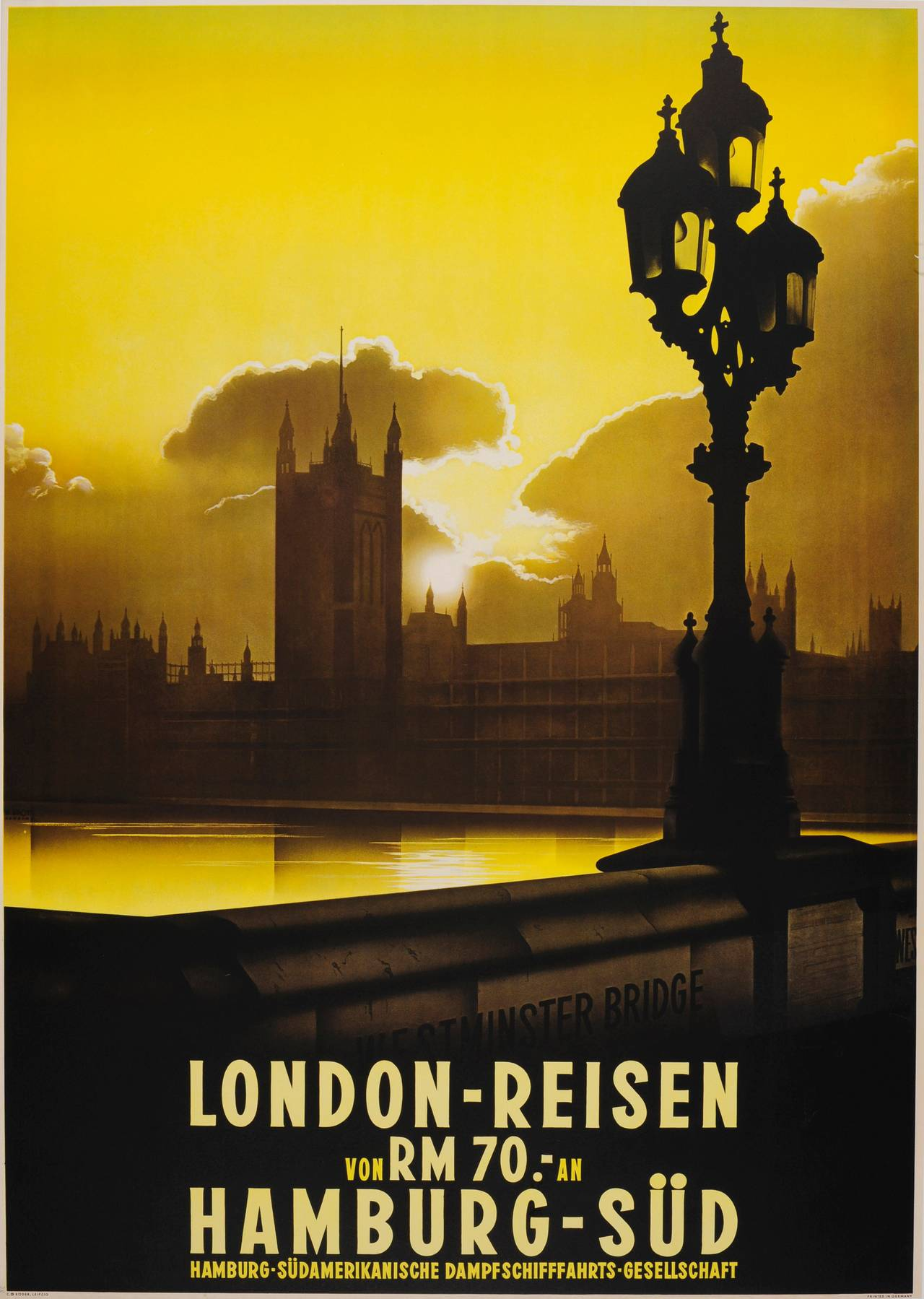 Rare Original 1930s Travel Advertising Poster: Westminster Bridge View, London