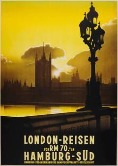 Rare Original 1930s Travel Advertising Poster: Westminster Bridge View, London