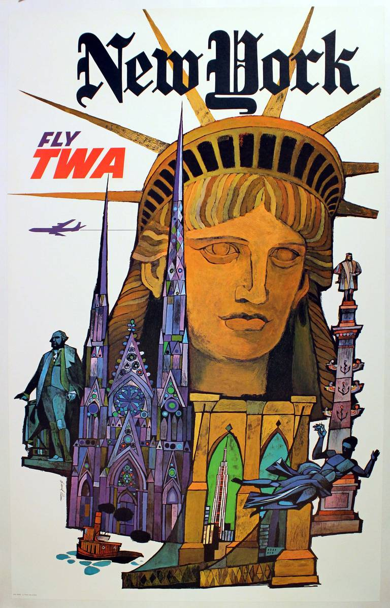 david klein original vintage travel poster advertising new york by twa david klein print. Black Bedroom Furniture Sets. Home Design Ideas