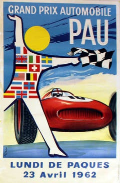 Original vintage car racing poster for the 1962 Pau Grand Prix Automobile race