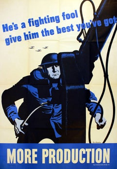 Original Vintage World War Two Poster More Production He's A Fighting Fool WWII