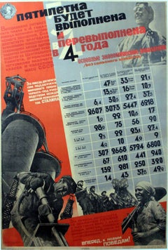 Original vintage USSR propaganda poster: complete the 5 Year Plan in 4 years