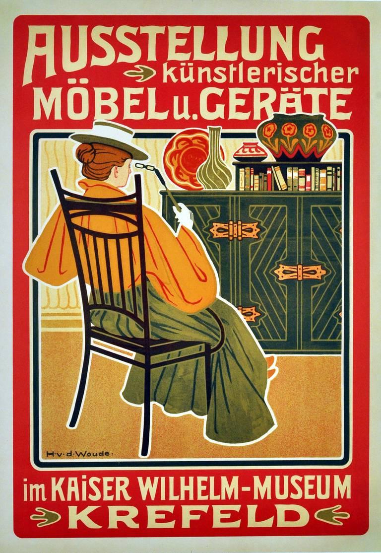 Hugo van der woude print original vintage art nouveau advertising poster for a furniture exhibition