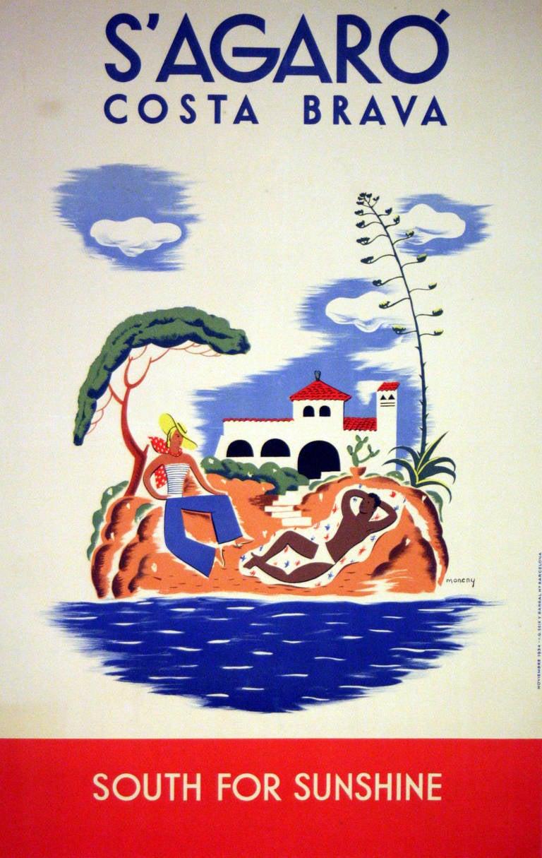 Moneny - Original vintage 1934 travel advertising poster: S'Agaro, Costa Brava, Spain 1