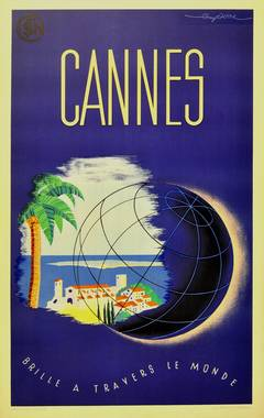 Original vintage travel poster for Cannes France issued by SNCF French railways