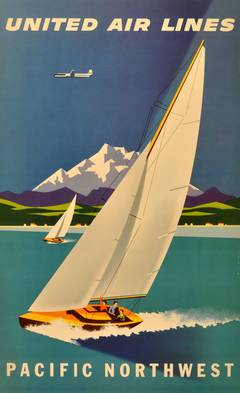 Original vintage travel advertising poster for United Airlines Pacific Northwest