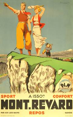 Original vintage 1930s poster for Mont Revard in Savoie, France, by Paul Ordner