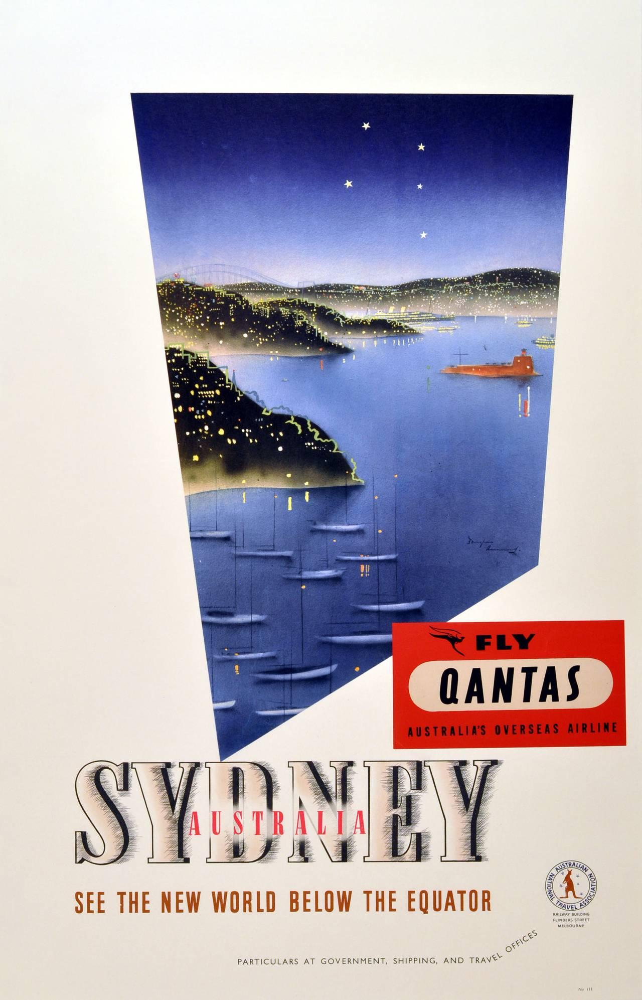 Douglas Annand - Original vintage 1930s travel advertising poster: Sydney, Australia - Fly ...
