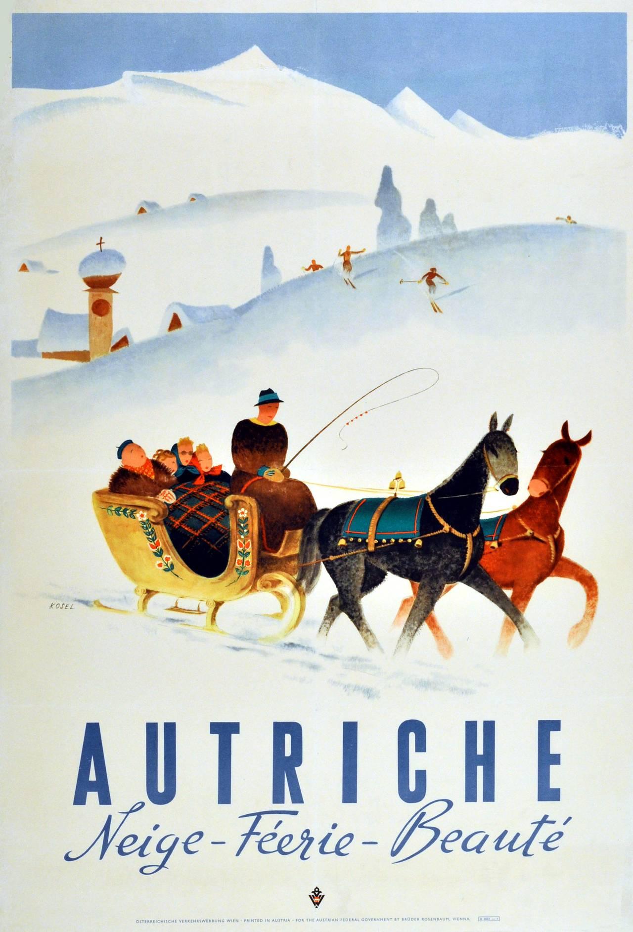 Hermann Kosel Original Vintage Poster For Autriche
