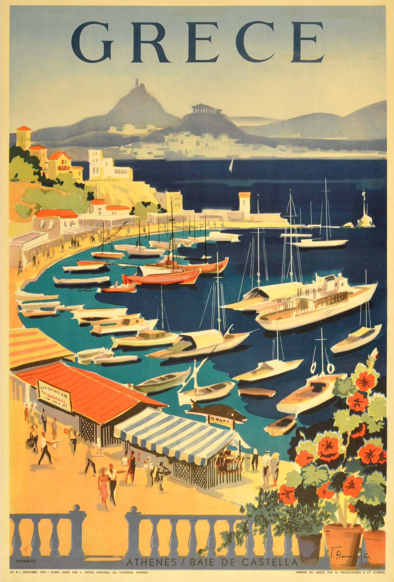 Unknown original vintage travel poster for greece grece athenes baie de castella print - Office du tourisme athenes ...