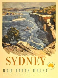 Original vintage travel advertising poster for Sydney Australia New South Wales