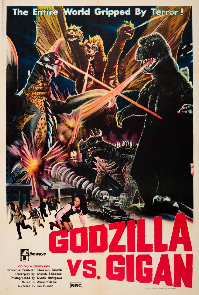 Unknown Print - Original Vintage Movie Poster For The Australian Release Of Godzilla Vs. Gigan