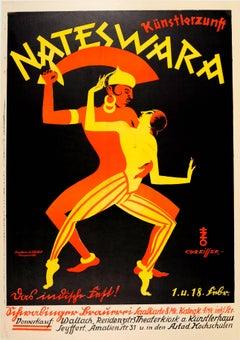 Original Vintage Asian Design Poster For Nateswara Kunstlerzunft Artist Festival