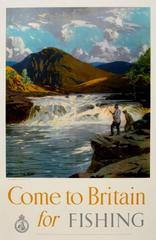 Original Vintage Travel Poster By Norman Wilkinson - Come To Britain For Fishing