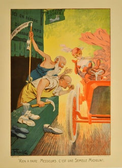 Original Antique Belle Epoque Style Advertising Poster For Michelin Tyres 1907