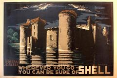 Original Vintage Poster Designed For Shell - Bodiam Castle - By McKnight Kauffer