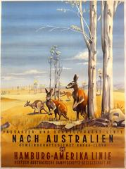 Original 1930s Travel Poster Advertising HAPAG Cruises To Australia - Kangaroos