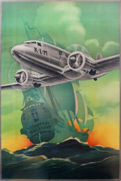 Original Vintage 1930s KLM Travel Poster By Arjen Galema Ft. The Flying Dutchman