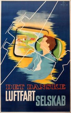 Original 1936 Danish Airlines Advertising Poster - Det Danske Luftfartselskab