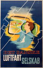 Original 1936 Danish Airlines Advertising Poster - Det Danske Luftfartselskab