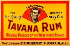Original Vintage 1920s Drink Advertising Poster For Tavana Rum West Indies
