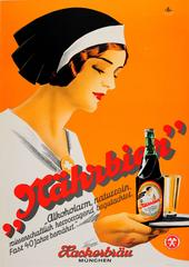 Original 1930s Art Deco Advertising Poster For The Hackerbrau Brewery In Munich