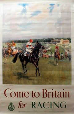 Original Vintage Horse Racing Poster By LDR Edwards - Come To Britain For Racing