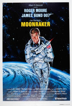 Original Vintage James Bond Poster By Daniel Goozee For the 007 Movie, Moonraker