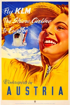 Original Vintage Skiing Poster By Paul Aigner: Wintersports In Austria - Fly KLM