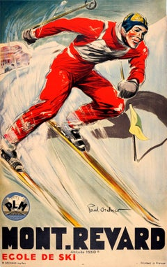 Original Vintage 1930s Skiing Poster by Paul Ordner for Mont Revard France PLM