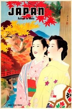 Original Vintage 1930s Travel Advertising Poster For Japan - Autumn In Nikko