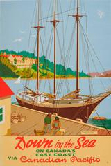 Original Vintage Canadian Pacific Poster: Down By The Sea, The Digby Pines Hotel