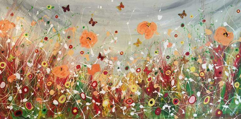 Tracey Thornton Landscape Painting - Summer Storm, Original, Acrylic, Mixed Media, Landscape, 2D Butterfly, Signed.