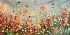Summer Storm, Original, Acrylic, Mixed Media, Landscape, 2D Butterfly, Signed.