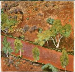 Ranges, Finke River and gum trees, Mcdonnell, Original, Oil on Canvas, Signed