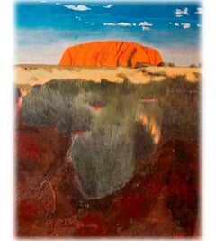Uluru at Sunset 2, Landscape, Oil, Personally Signed. Excellent Art Reviews,