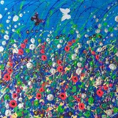 Sky Skimming, Original, Mixed Media, Diamond Dust, Collage, Pattern. Signed
