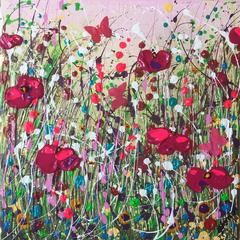 In the Grasses, Original, Acyrlic on Canvas, Flowers, Interior, Red poppies.
