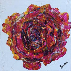 Heart of a Rose, Original, Acrylic Paint, Textured piece, Canvas, Signed.