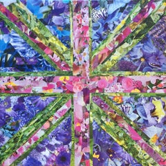 Flower Power, Collage, Canvas, Interiors, Craft, Abundance, Recycled Art,Signed.