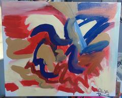El Corazon, Original, Acrylic Pastel Oil Paint on Canvas, Heart Abstract. Signed